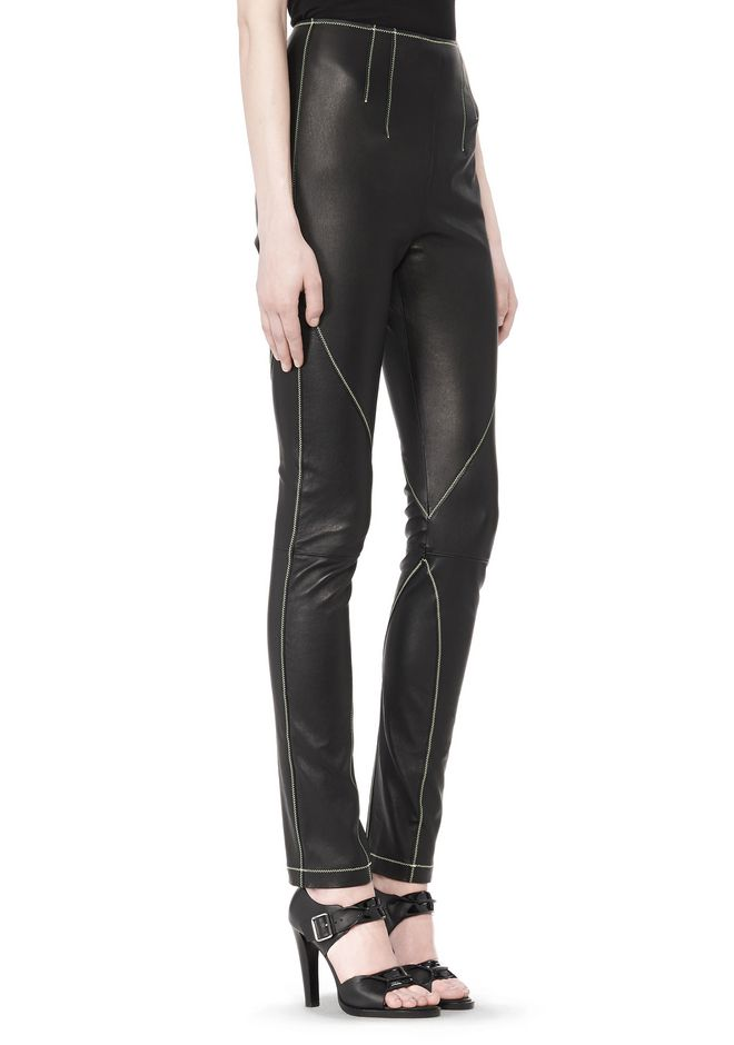 T by ALEXANDER WANG STRETCH LEATHER LEGGINGS WITH STITCH DETAIL PANTS Adult 12_n_e