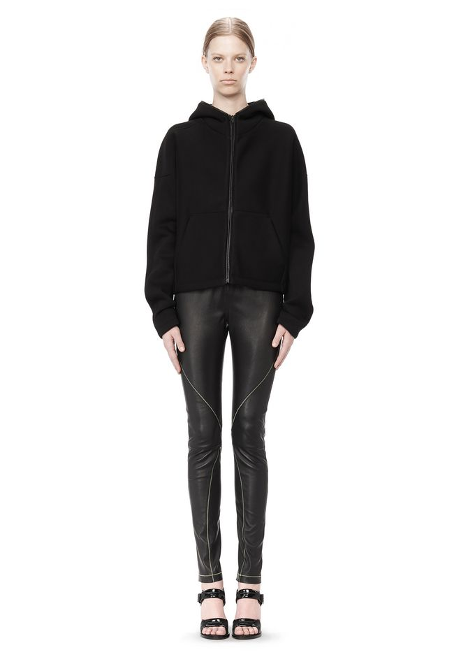 T by ALEXANDER WANG STRETCH LEATHER LEGGINGS WITH STITCH DETAIL PANTS Adult 12_n_f
