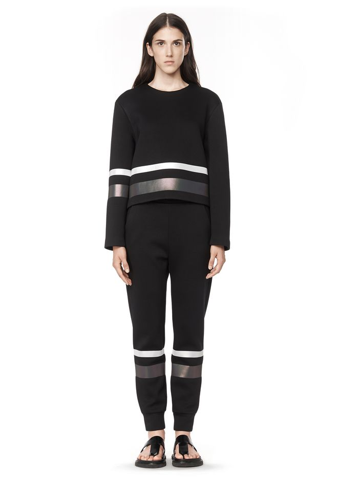 T by ALEXANDER WANG SCUBA SWEATPANTS WITH REFLECTIVE STRIPES PANTS Adult 12_n_f
