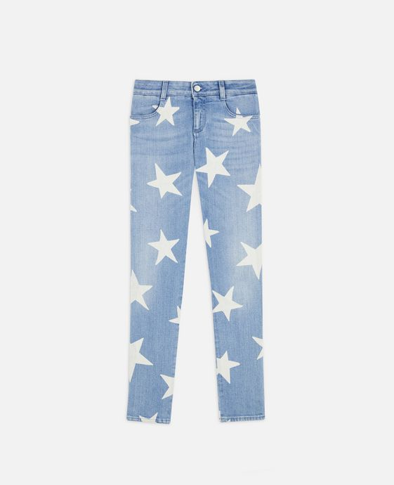 Jeans Ankle Grazer con Stampa Stelle