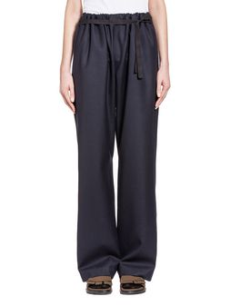 Marni Trousers in light twisted flannel with wrap-up belts Woman