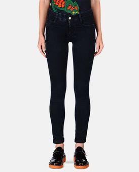 Long jean skinny bleu-noir