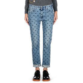 Blaue Skinny Boyfriend Jeans mit blauen Sternen