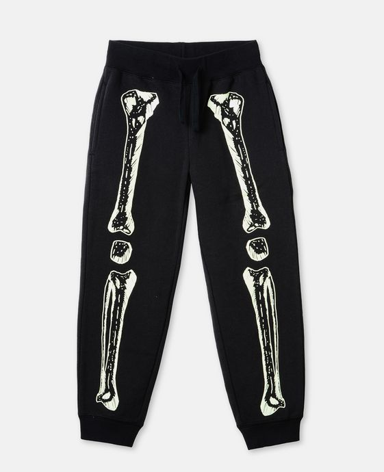 GLOW IN THE DARK l Zachary Black Skeleton Print Pants