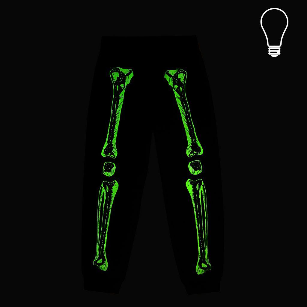 GLOW IN THE DARK l Zachary Black Skeleton Print Pants - STELLA MCCARTNEY KIDS