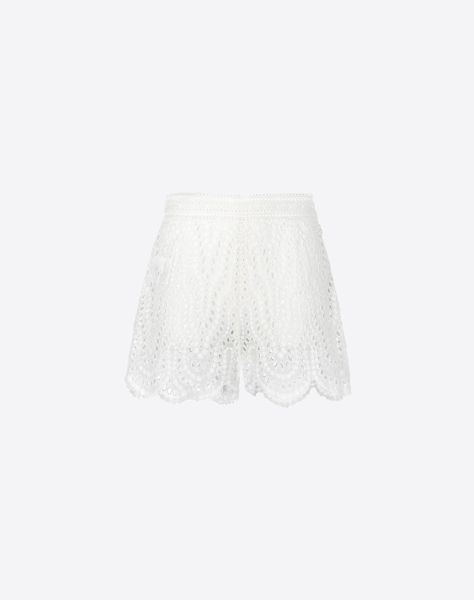 VALENTINO Shorts in broderie anglaise lace.  - Side fastening with concealed zip.  - Scalloped hem.  - Length 33 cm.  - Cotton voile lining.  - Broderie Anglaise Lace (85% Cotton, 15% Polyester).  - Regular fit.  The model is 176 cm tall and wears an Italian size 40.  - Made in Italy.   36767913ei