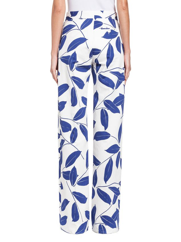 Marni Trousers in cotton and linen drill with Silhouette print Woman