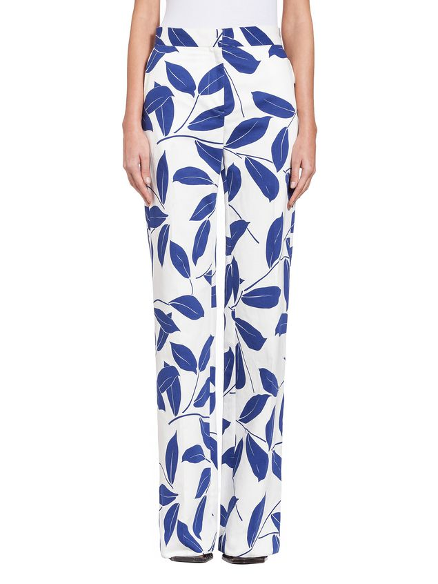 Marni Trousers in cotton and linen drill with Silhouette print Woman - 1