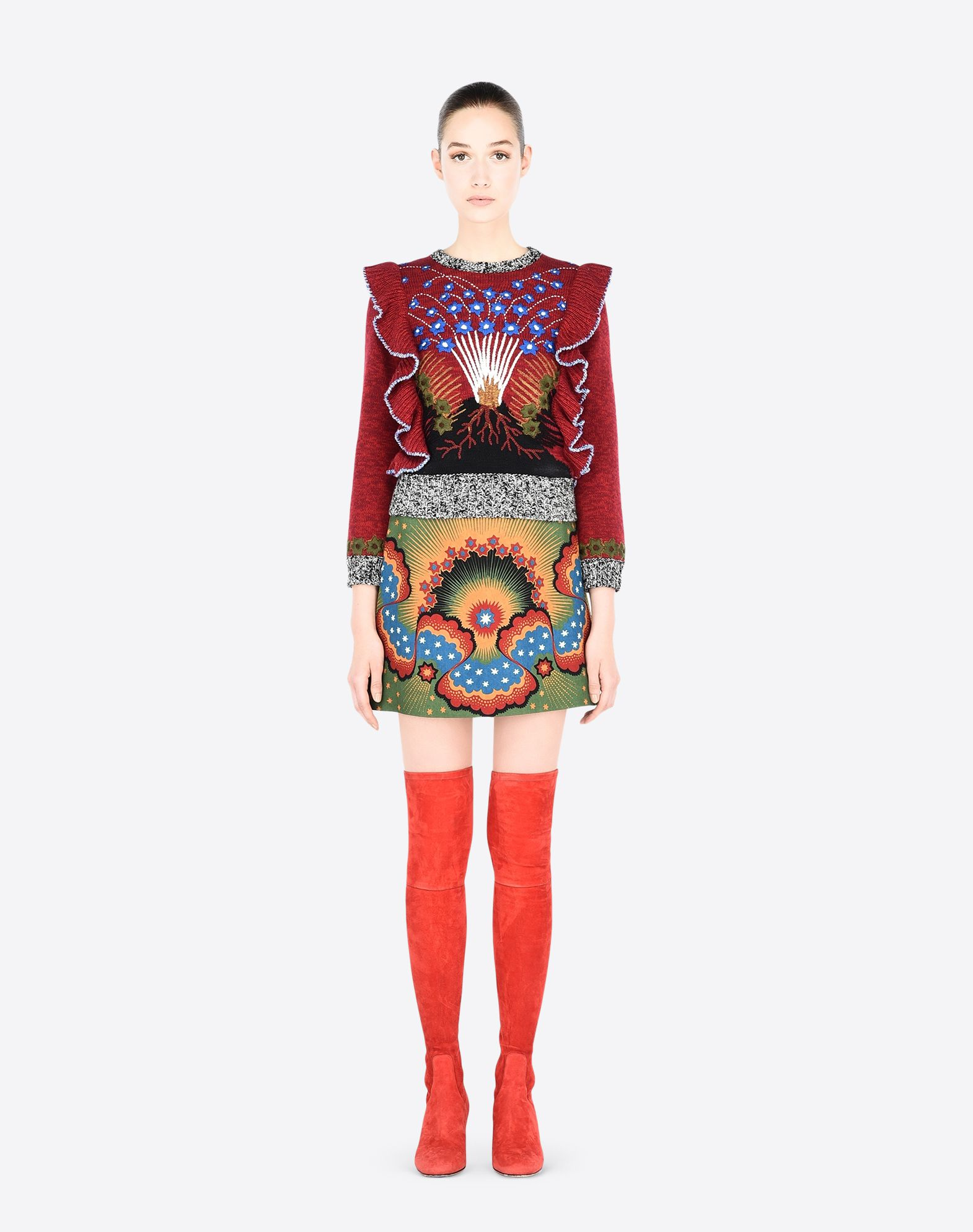 VALENTINO Crêpe Multicolour Pattern Mid Rise Zip Lined interior  36844518kd
