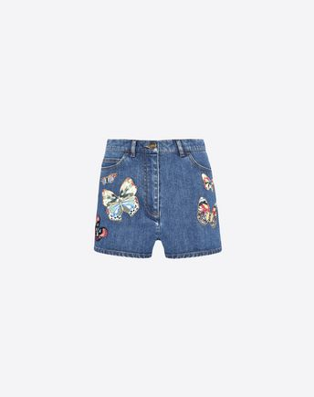 VALENTINO Shorts in embroidered denim 36860749EB