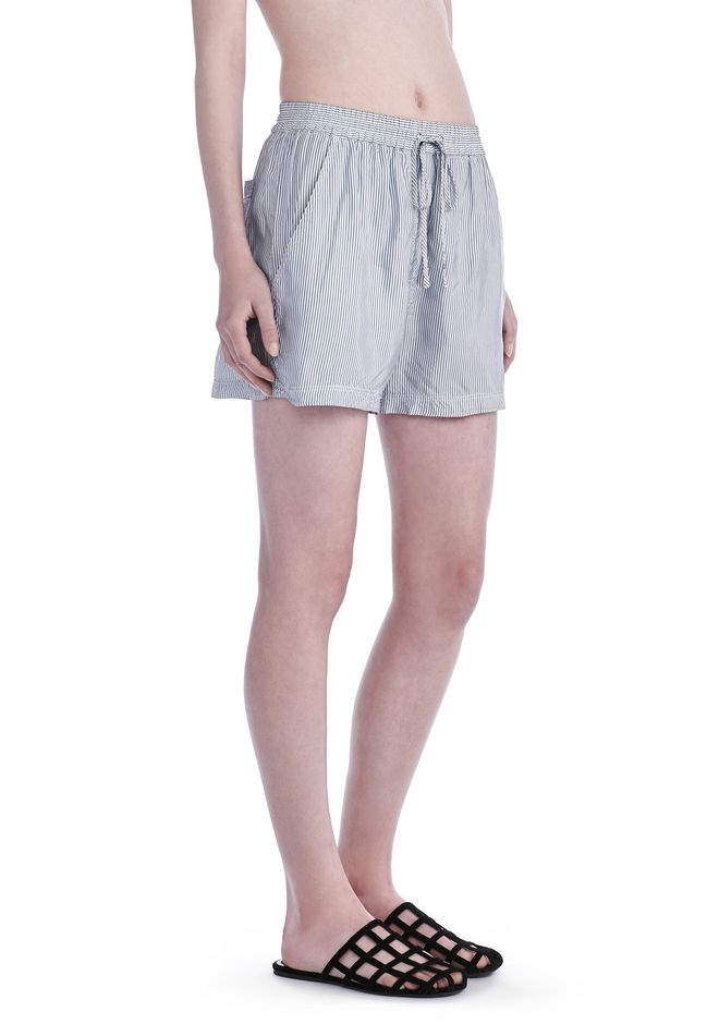 T by ALEXANDER WANG SHORTS Women WASHED STRIPE VISCOSE SHORTS