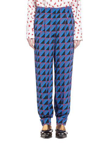 Marni Pants in sablé viscose, Rhythm print Woman