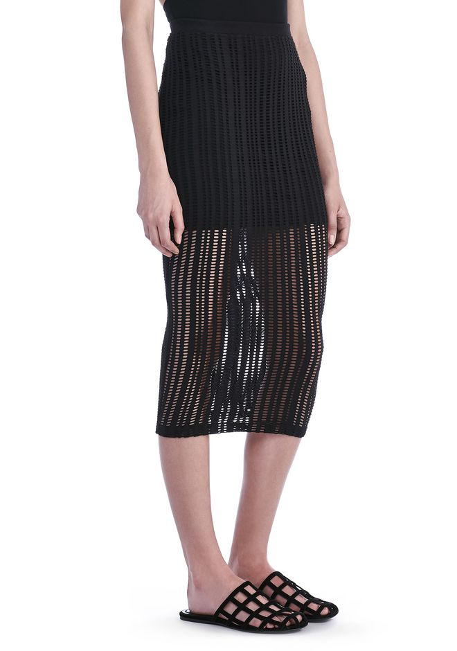 STRETCH JACQUARD MIDI SKIRT | SKIRT | Alexander Wang Official Site