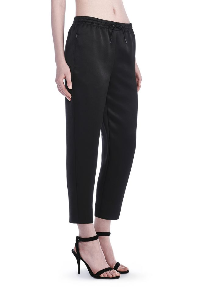 T by ALEXANDER WANG PANTS Women STRETCH SATIN TRACKPANT WITH ELASTIC WAISTBAND