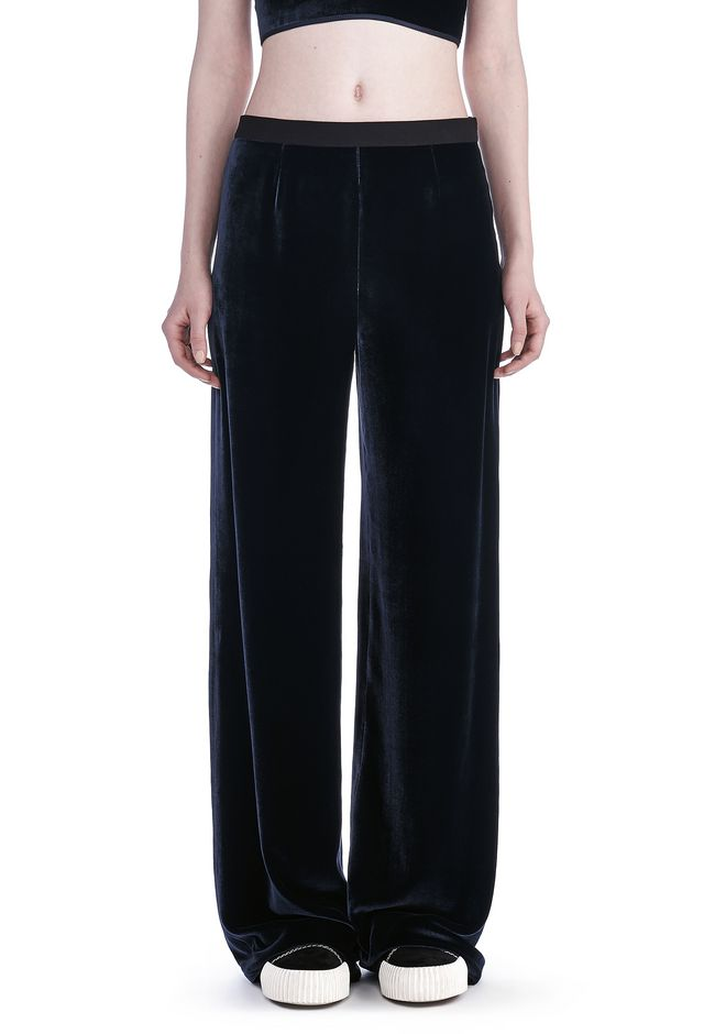 SILK VELVET WIDE LEG PANTS | PANTS | Alexander Wang Official Site