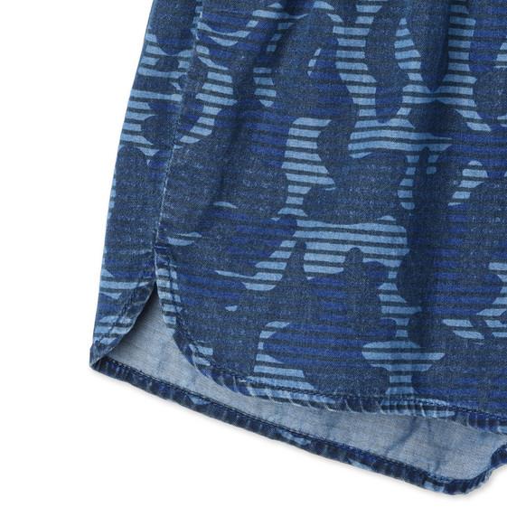 Short Coralle avec imprimé camouflage bleu