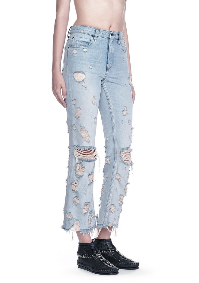 ALEXANDER WANG denim-x-aw GRIND SCRATCH CROPPED FLARE JEAN