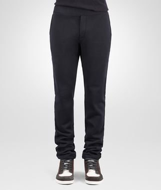 PANT IN DARK NAVY COTTON WOOL JERSEY, NERO LEATHER DETAILS