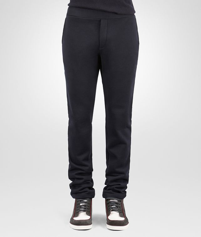 BOTTEGA VENETA PANT IN DARK NAVY COTTON WOOL JERSEY, NERO LEATHER DETAILS Trouser or jeans Man fp