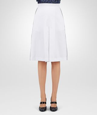 SKIRT IN BIANCO COTTON, PIPING DETAIL