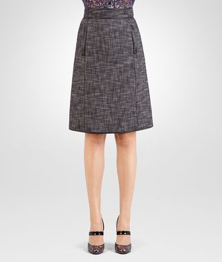 SKIRT IN MULTICOLOR COTTON TWEED, INTRECCIATO NAPPA DETAIL