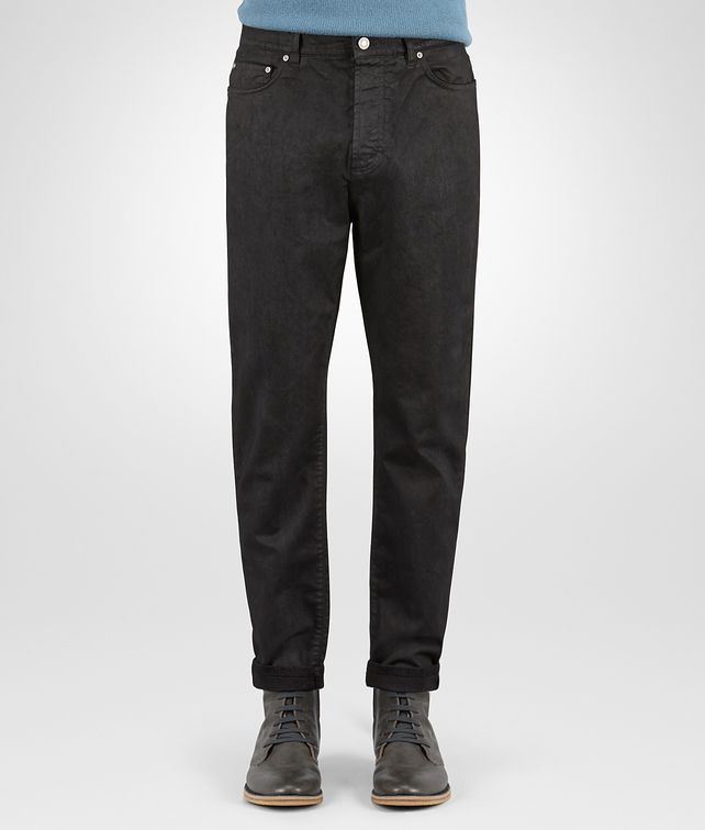 BOTTEGA VENETA PANT IN NERO COTTON GABARDINE, LEATHER-EFFECT WORKMANSHIP Jeans or Pant Man fp