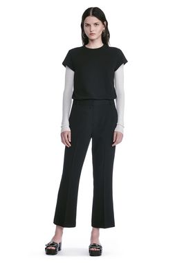 DRAPE POLY TWILL FRONT PLEAT CROPPED TROUSERS