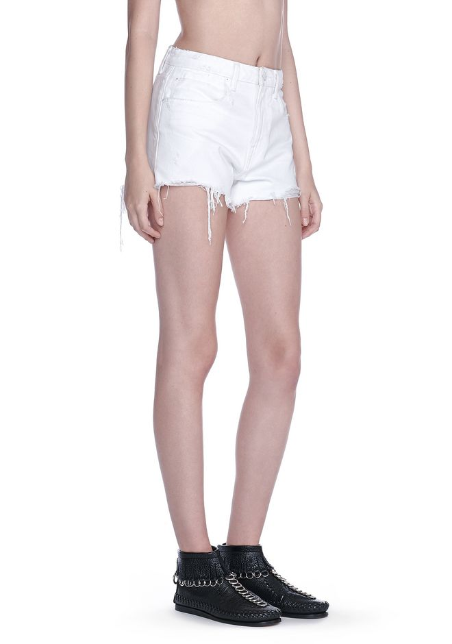 ALEXANDER WANG denim-x-aw BITE SCRATCH CUT-OFF DENIM SHORTS