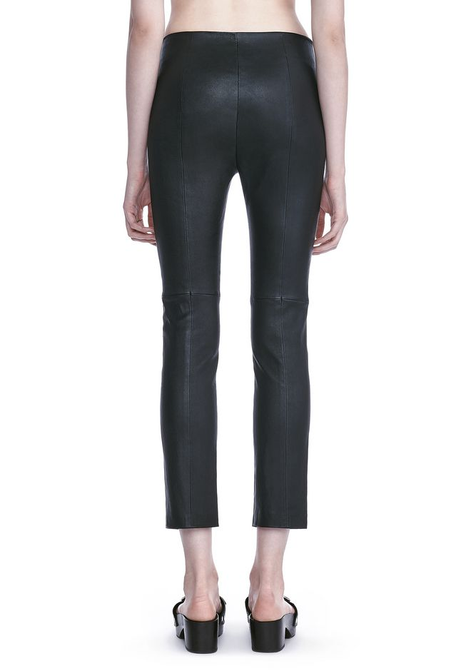 T by ALEXANDER WANG STRETCH LEATHER LEGGINGS  裤装 Adult 12_n_a
