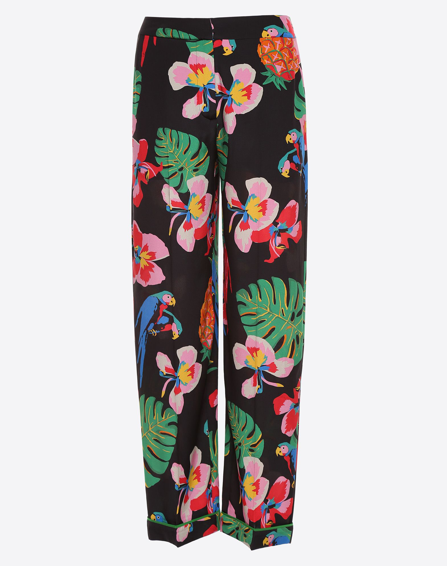 VALENTINO Crêpe Floral design Mid Rise Hook-and-bar, zip Wide leg cut Cuffed hems  36945081ep