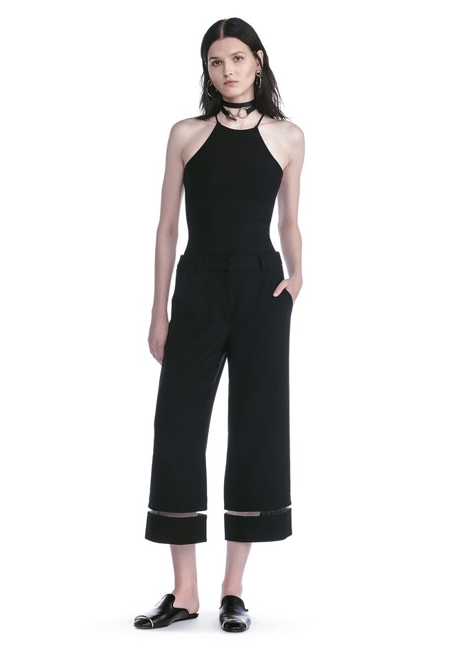 ALEXANDER WANG CROPPED PANT WITH FISHLINE TRIM PANTS Adult 12_n_f
