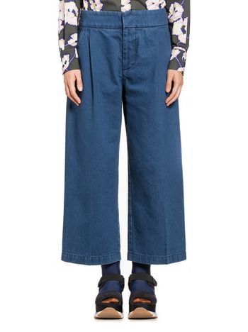 Marni Trousers in blue indigo cotton denim Woman