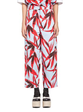 Marni Trousers in cotton-and-linen drill Swash print Woman