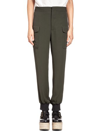 Marni Pants in crepe satin knitted bottom Woman