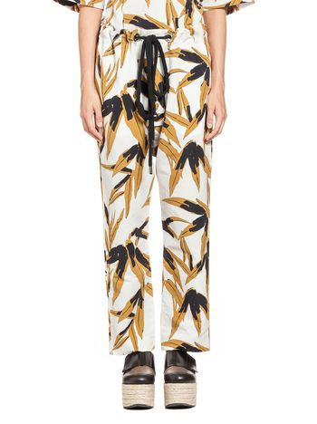 Marni Trousers in cotton and linen Swash print Woman