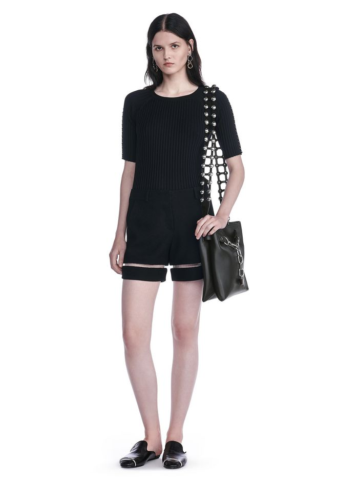 ALEXANDER WANG SHORTS HIGH WAISTED SHORTS WITH FISHLINE TRIM