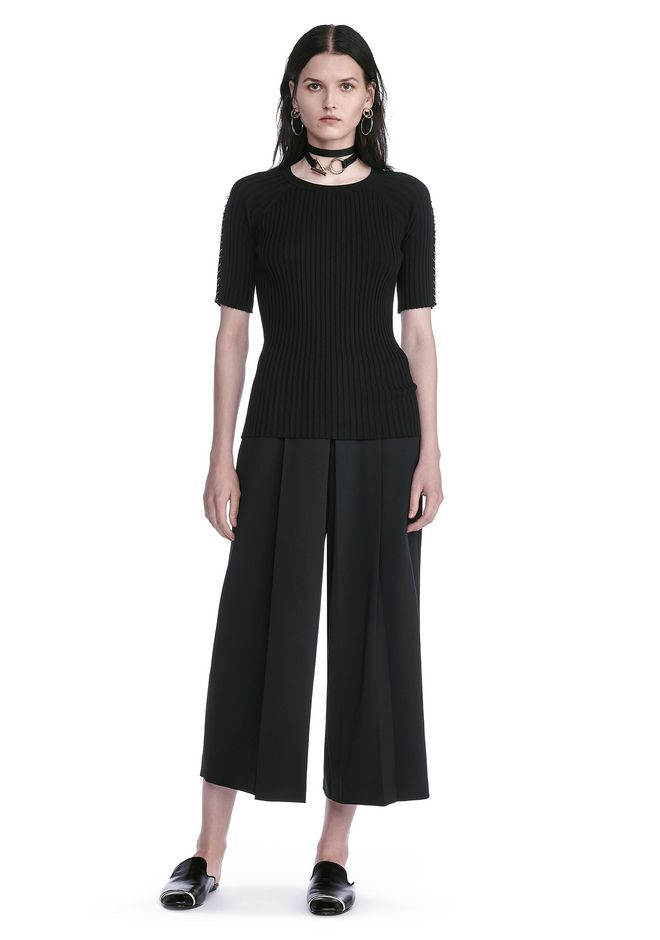 ALEXANDER WANG CROPPED PANTS WITH INVERTED PLEAT FRONT PANTS Adult 12_n_f