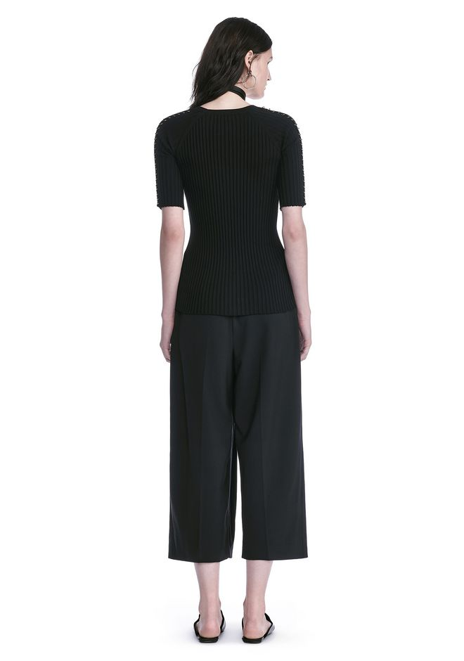 ALEXANDER WANG CROPPED PANTS WITH INVERTED PLEAT FRONT PANTS Adult 12_n_r