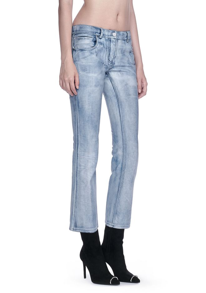 ALEXANDER WANG resort17-collection DENIM LEATHER CROPPED FLARE PANTS