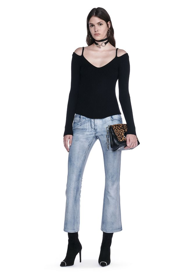 ALEXANDER WANG PANTS DENIM LEATHER CROPPED FLARE PANTS