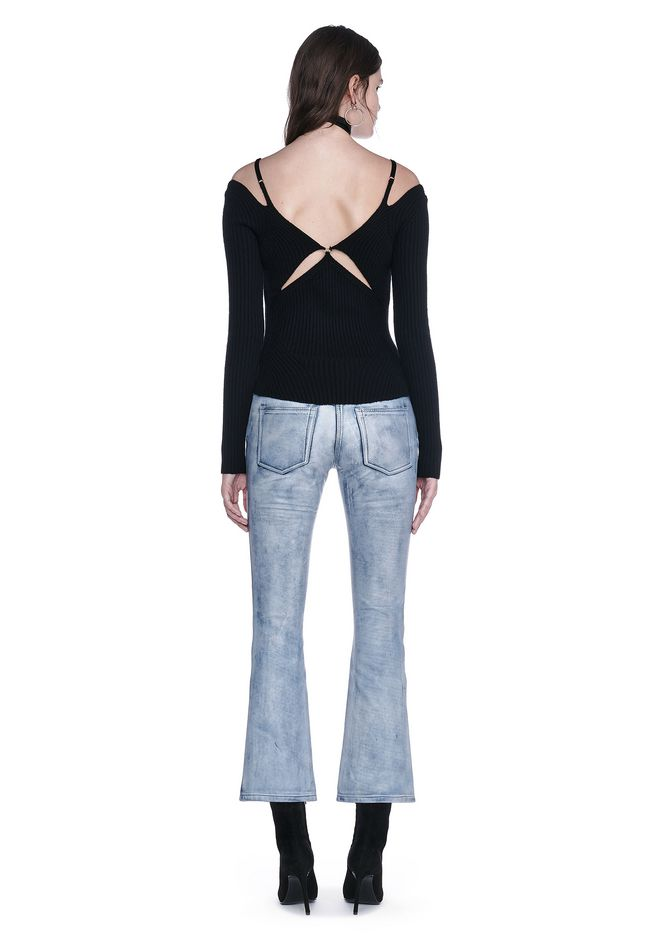 ALEXANDER WANG DENIM LEATHER CROPPED FLARE PANTS PANTS Adult 12_n_r