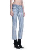 ALEXANDER WANG DENIM LEATHER CROPPED FLARE PANTS PANTS Adult 8_n_e