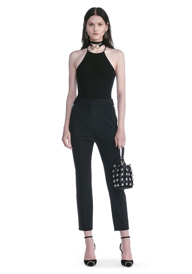 ALEXANDER WANG HIGH WAISTED TAILORED PANTS WITH ZIP POCKETS PANTS Adult 12_n_f