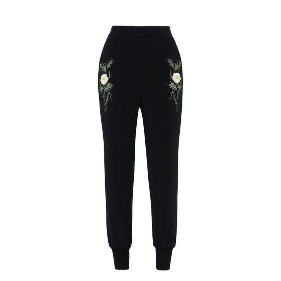 Black Embroidered Julia Pants
