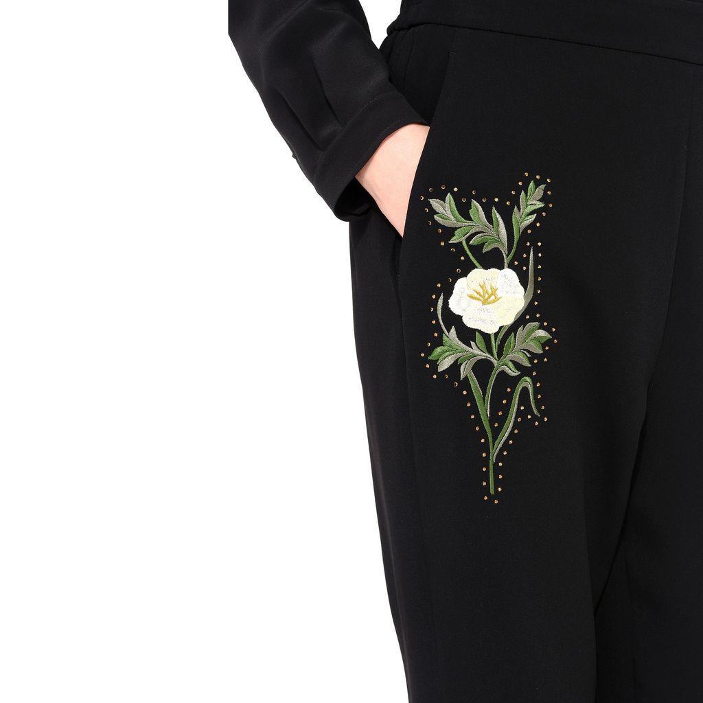 Black Embroidered Julia Trousers - STELLA MCCARTNEY