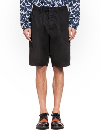 Marni Bermuda in cotton satin with turn-ups Man