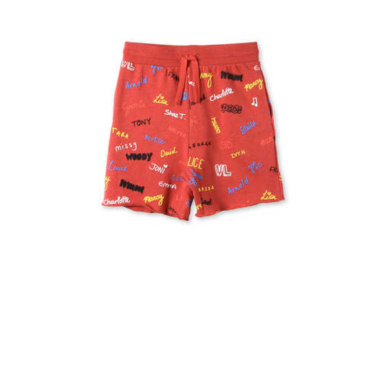 Red Names Print Wiley Shorts