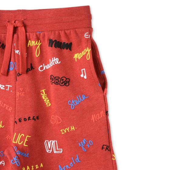 Short Wiley rouge avec imprimé noms