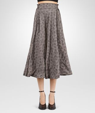 SKIRT IN STEEL PRINTED COTTON NERO CALF , LEATHER DETAILS