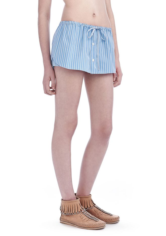 ALEXANDER WANG SHORTS Women STRIPED SHIRTING MINI SKIRT AND RUNNING SHORT HYBRID